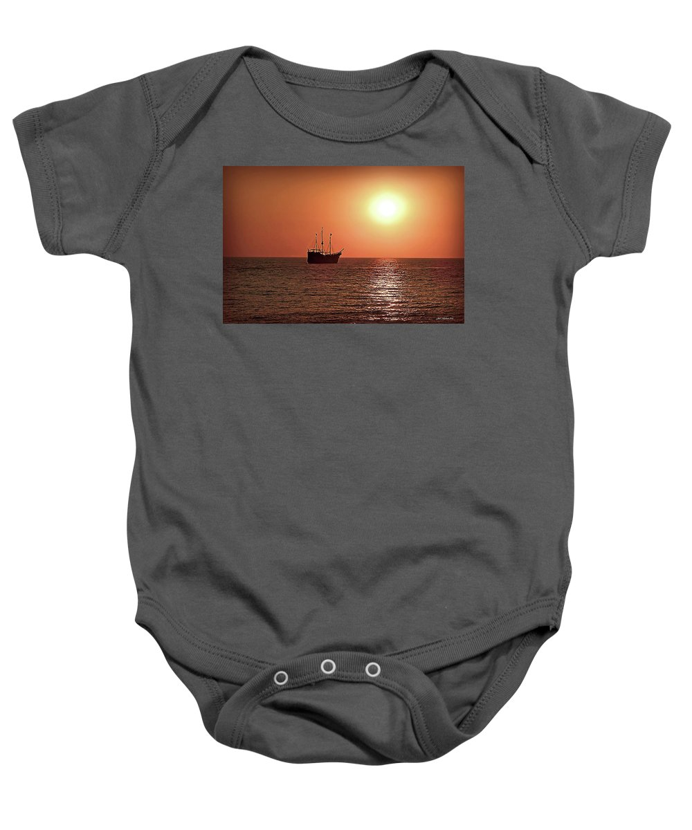 Beach Baby Onesie featuring the photograph Passing By In Calm Waters by Joan Minchak