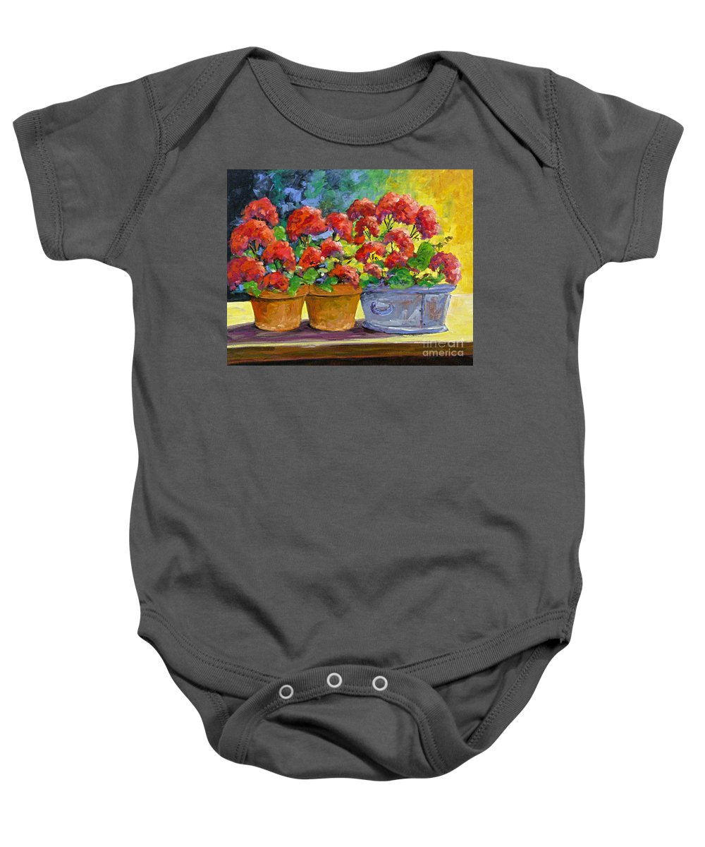 Still Life; Geraniums; Flowers; Terra Cotta; Red; Blue; Yellow; Green; Pranke; Baby Onesie featuring the painting Passion In Red by Richard T Pranke