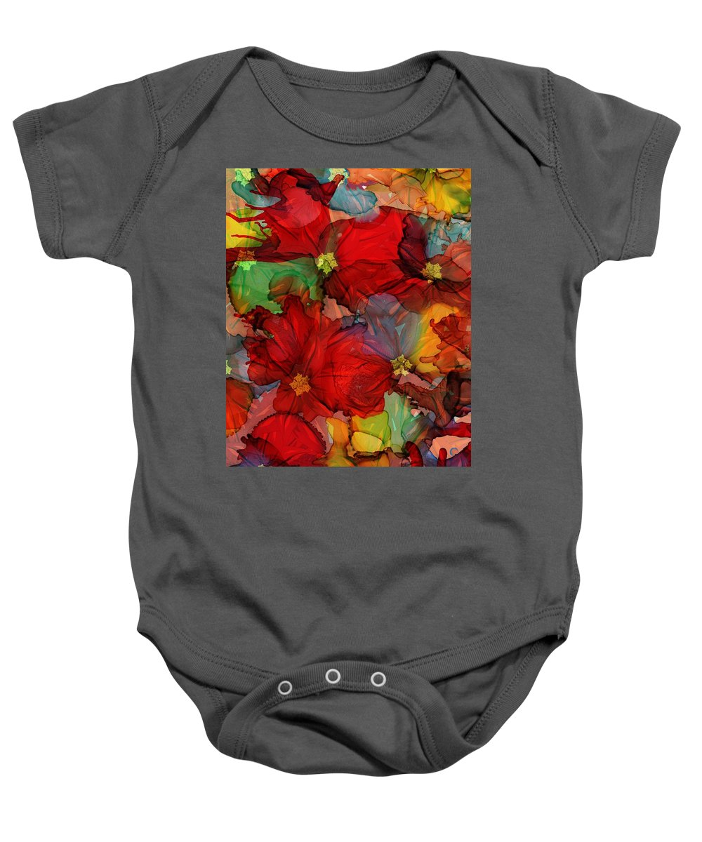 Abstract Baby Onesie featuring the mixed media Passion Of Flowers by Klara Acel