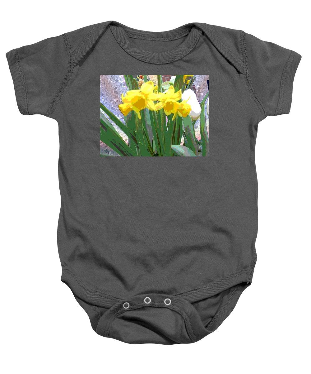 Tulips Baby Onesie featuring the digital art Pastel Tulips by Tim Allen