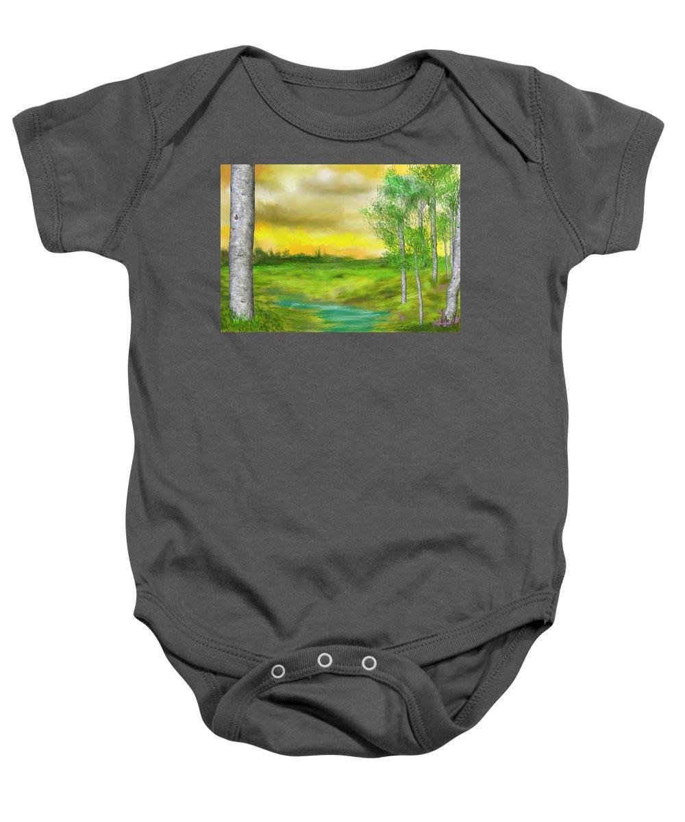 Landscape Baby Onesie featuring the digital art Pastoral by David Lane