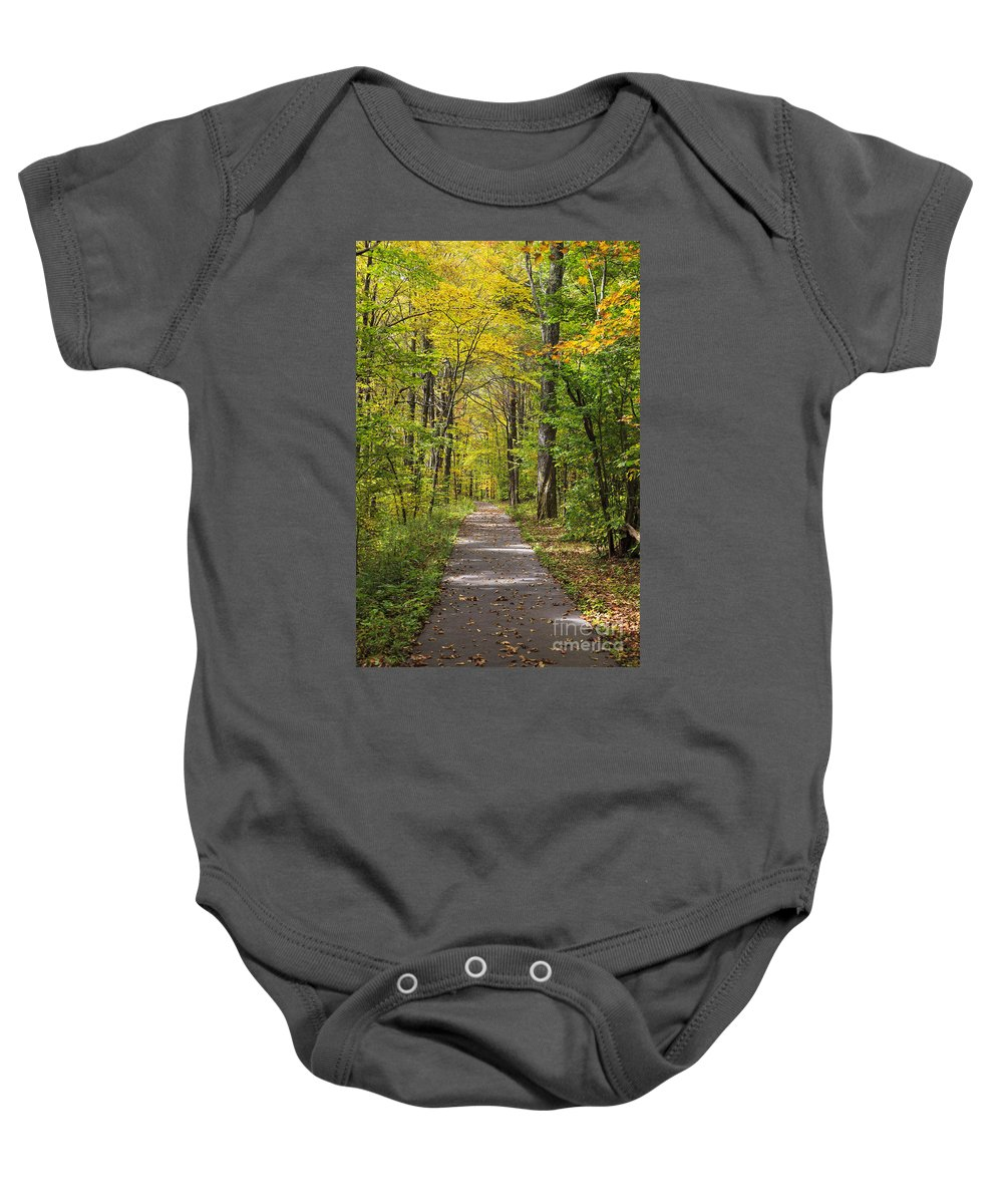 North Baby Onesie featuring the photograph Path In The Woods During Fall Leaf Season by Jill Lang