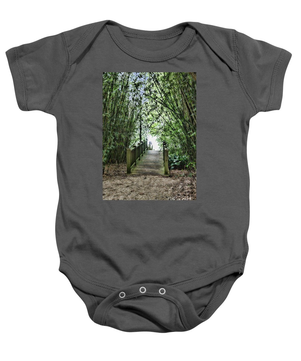 Landscape Baby Onesie featuring the photograph Path To Jefferson Lake Louisiana by Chuck Kuhn