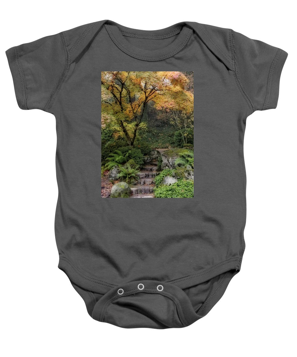Pathway Into Fall Baby Onesie featuring the photograph Pathway Into Fall by Wes and Dotty Weber