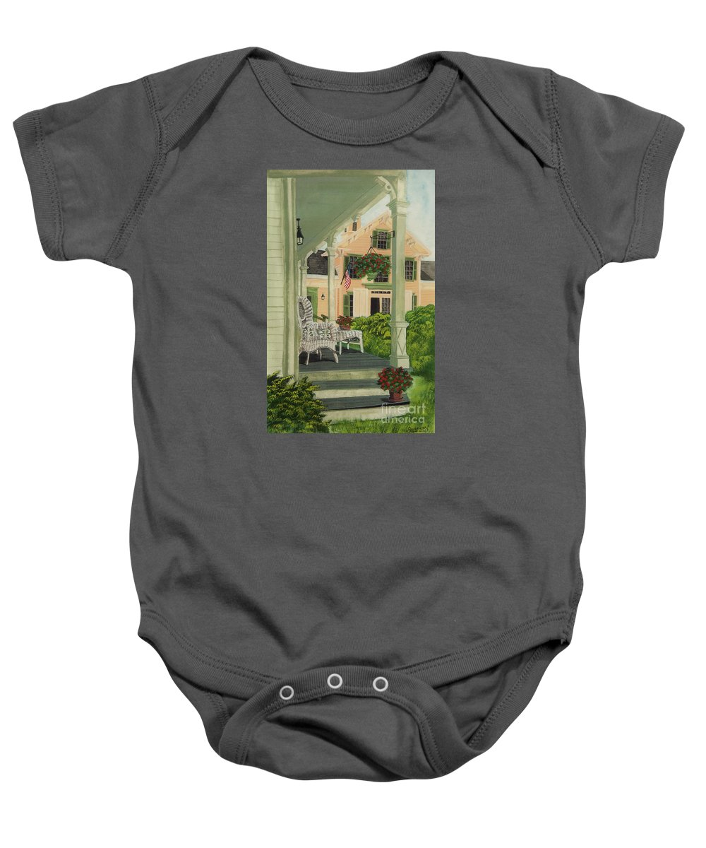 Side Porch Baby Onesie featuring the painting Patriotic Country Porch by Charlotte Blanchard