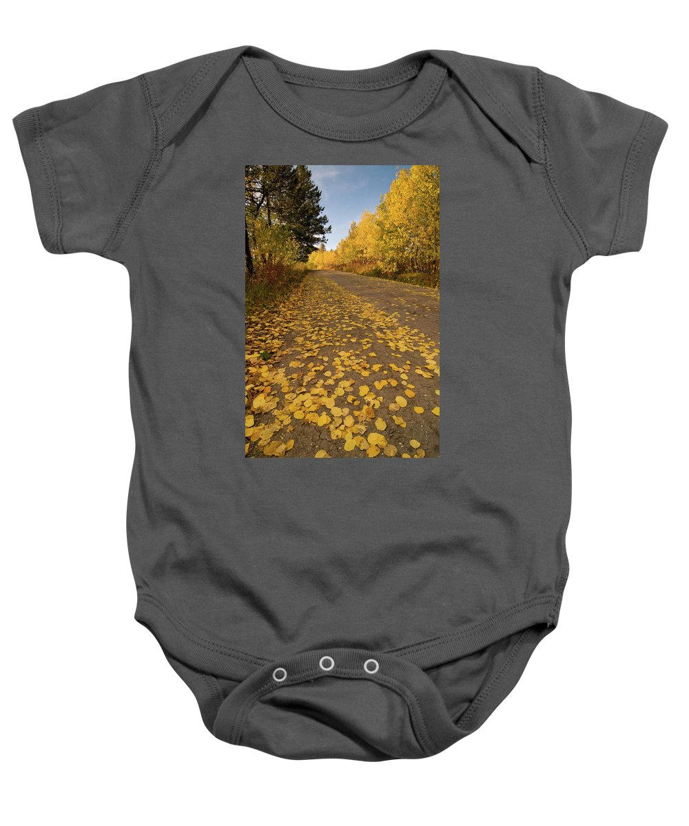 Grand Teton Baby Onesie featuring the photograph Paved In Gold by Steve Stuller