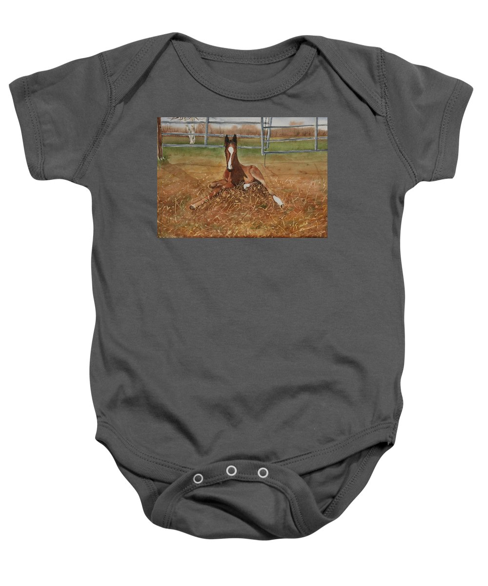 Colt Baby Onesie featuring the painting Pavlo's First Day by Ruth Kamenev
