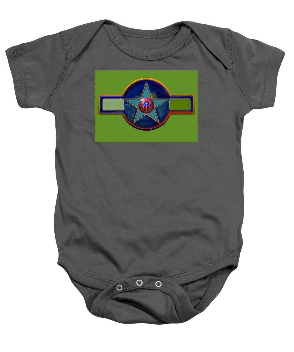 Usaaf Insignia Baby Onesie featuring the digital art Pax Americana Decal by Charles Stuart