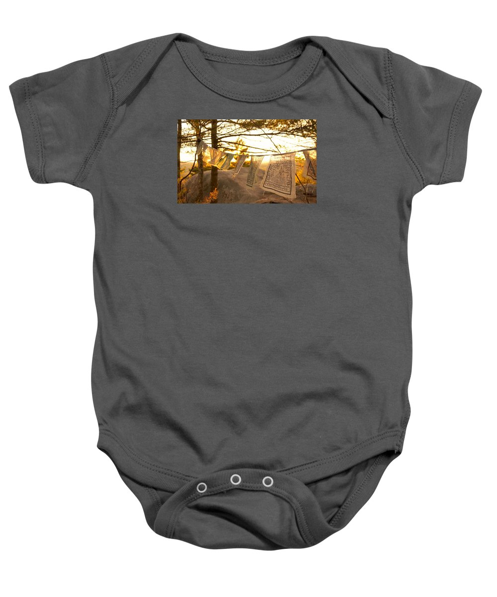 Fall Baby Onesie featuring the photograph Prayer Flags by Kevin Vautrinot