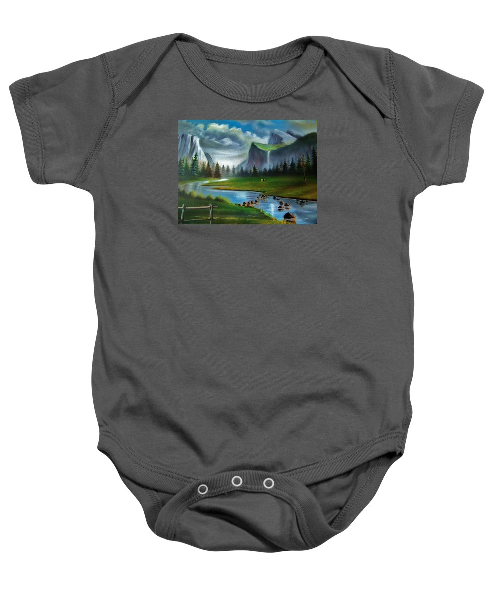 Landscape Baby Onesie featuring the painting Peaceful Retreat by Scott Easom