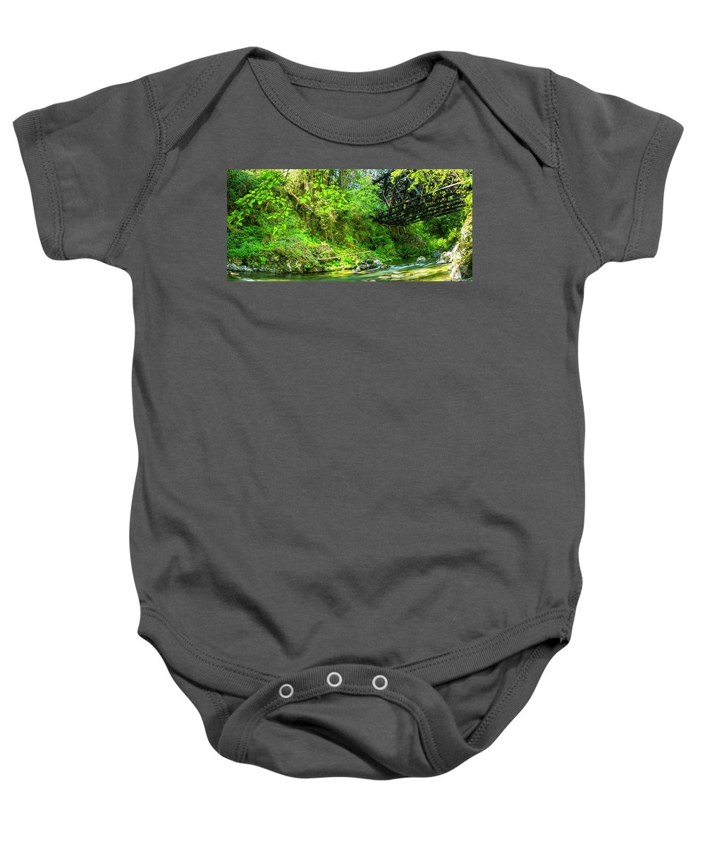 Background Baby Onesie featuring the photograph Peaceful Small Creek Under Kinsol Trestle, Vancouver Island, Bc, Canada 1. by Andrew Kim