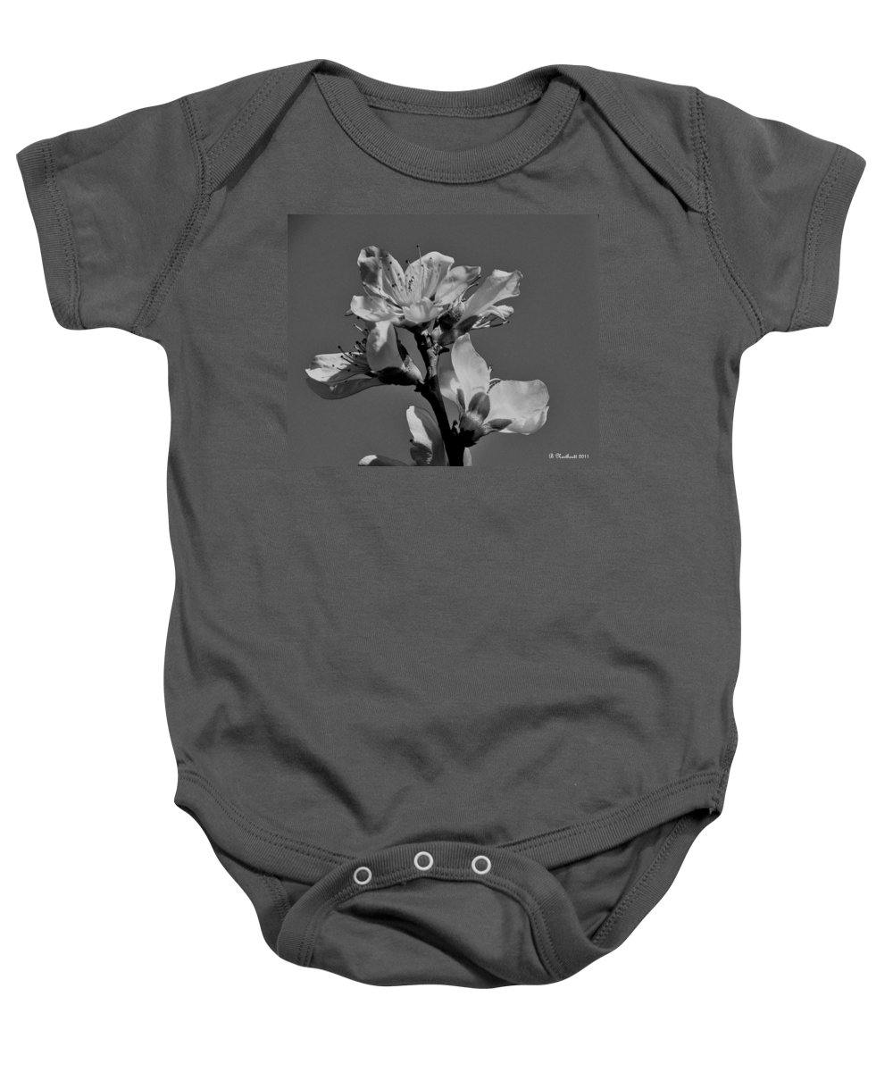 Peach Baby Onesie featuring the photograph Peach Blossoms In Grayscale by Betty Northcutt