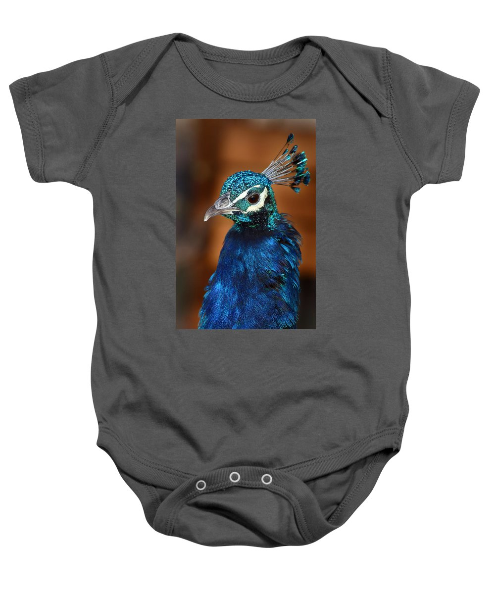 Peacock Baby Onesie featuring the photograph Peacock by Anthony Jones