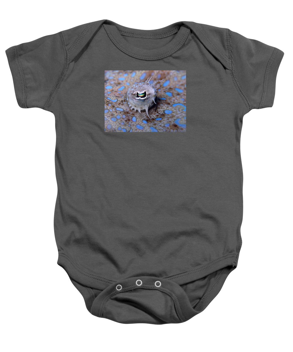 Fish Eye Baby Onesie featuring the photograph Peacock Flounder Eye by Ellen Muller