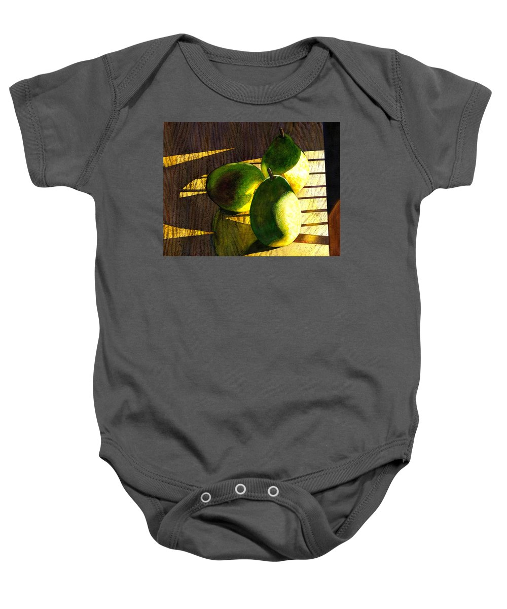 Pears Baby Onesie featuring the painting Pears No 3 by Catherine G McElroy