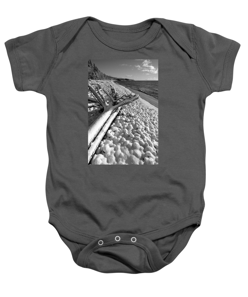 Lake Superior Baby Onesie featuring the photograph Pebble Beach Winter by Doug Gibbons