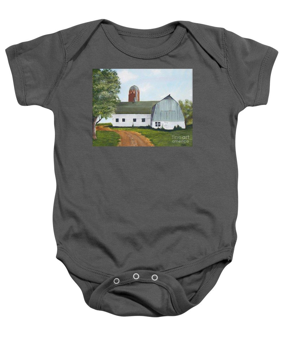Barn Baby Onesie featuring the painting Pedersen Barn by Mendy Pedersen