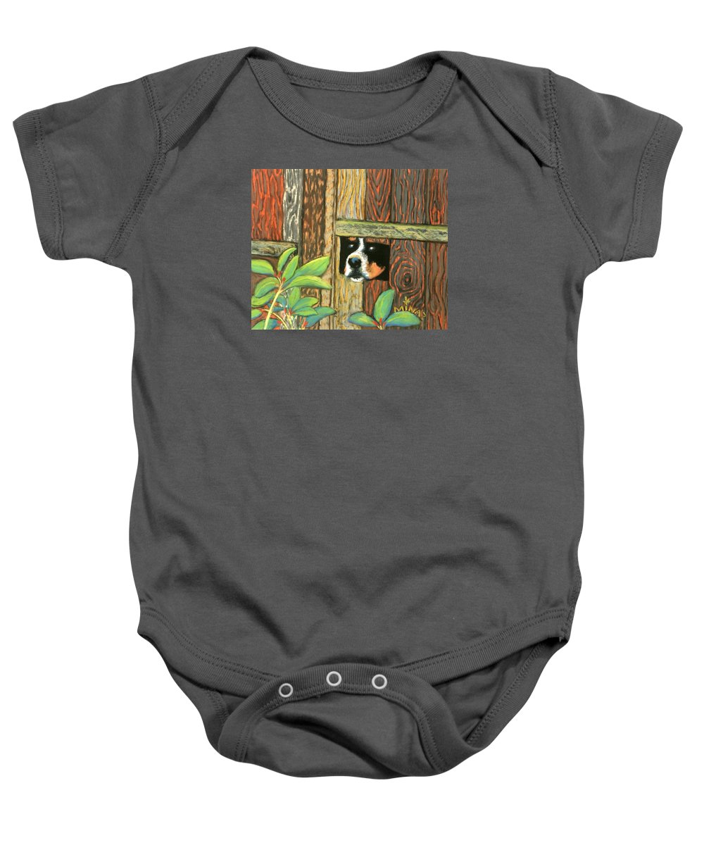 Dog Baby Onesie featuring the painting Peek-a-boo Fence by Minaz Jantz