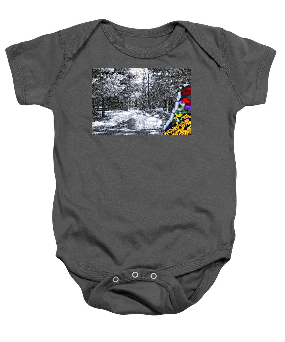 Winter Baby Onesie featuring the photograph Peeling Winter Away by Steve Harrington