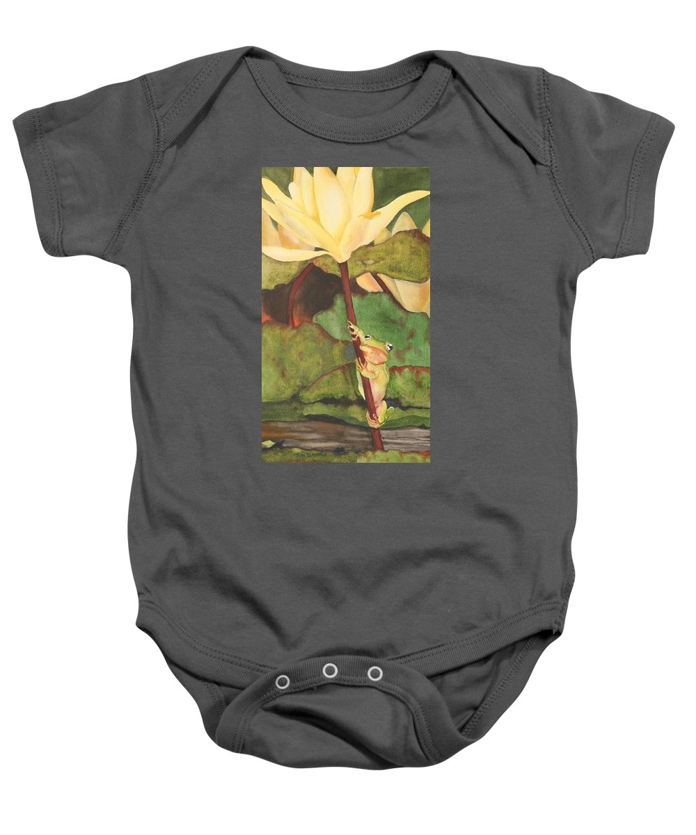 Frog Baby Onesie featuring the painting Peeping Tom by Jean Blackmer