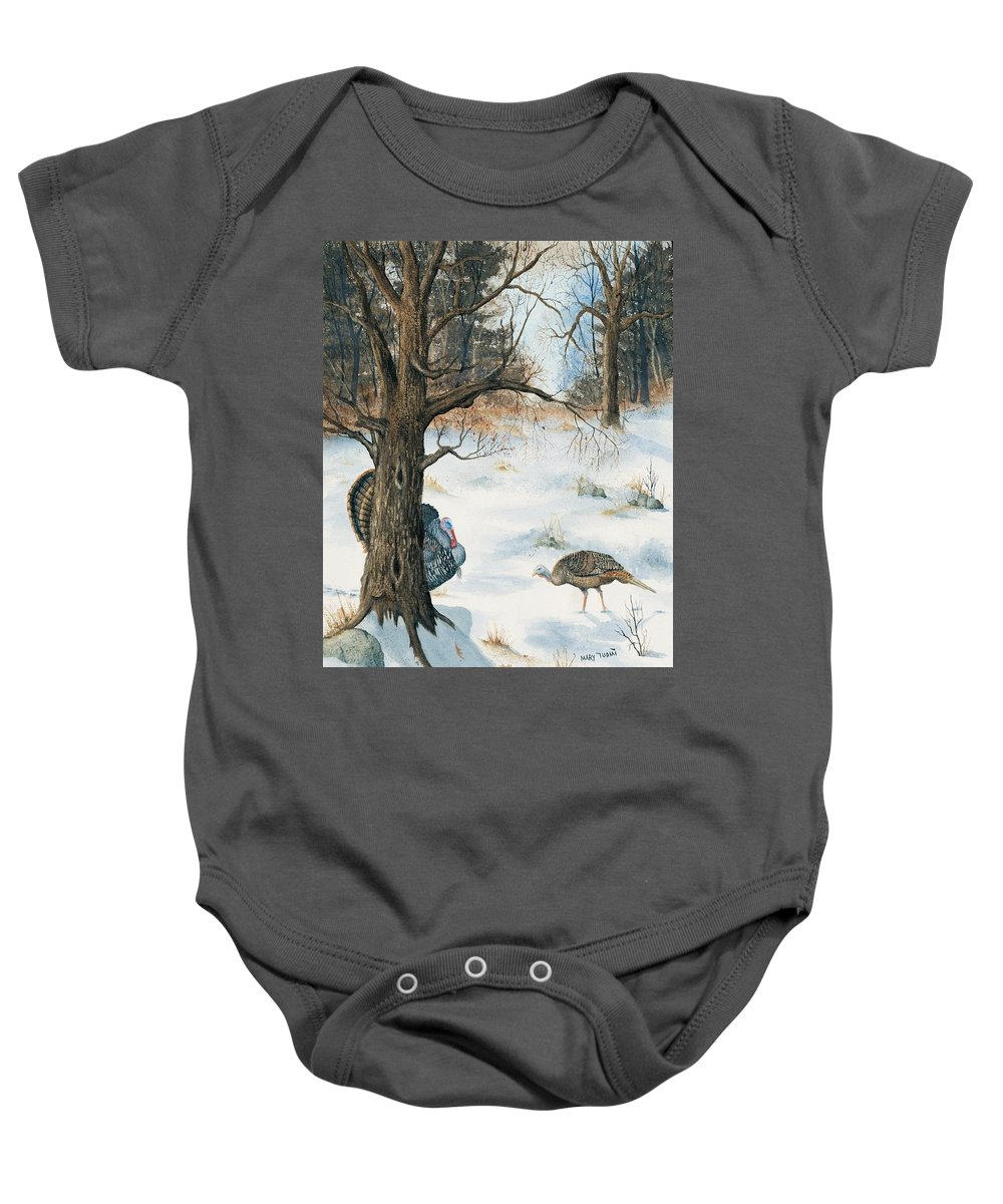 Turkey Baby Onesie featuring the painting Peeping Tom by Mary Tuomi