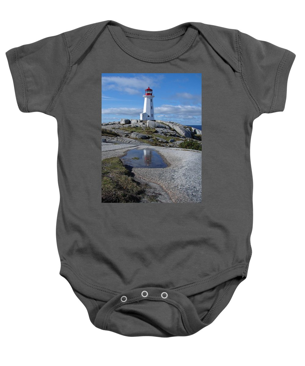 Seascape Baby Onesie featuring the photograph Peggys Cove Nova Scotia Canada by Heather Coen