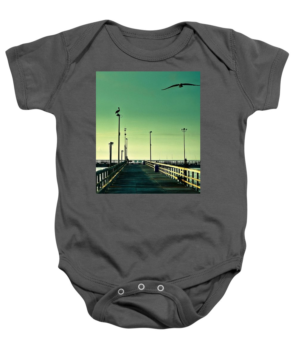 Americana Baby Onesie featuring the photograph Pelican On Watch Duty by Marilyn Hunt