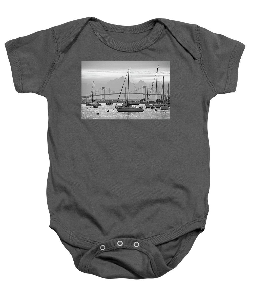 Newport Baby Onesie featuring the photograph Pell Bridge Newport Harbor Newport Ri Rhode Island Purple Sunset Black And White by Toby McGuire