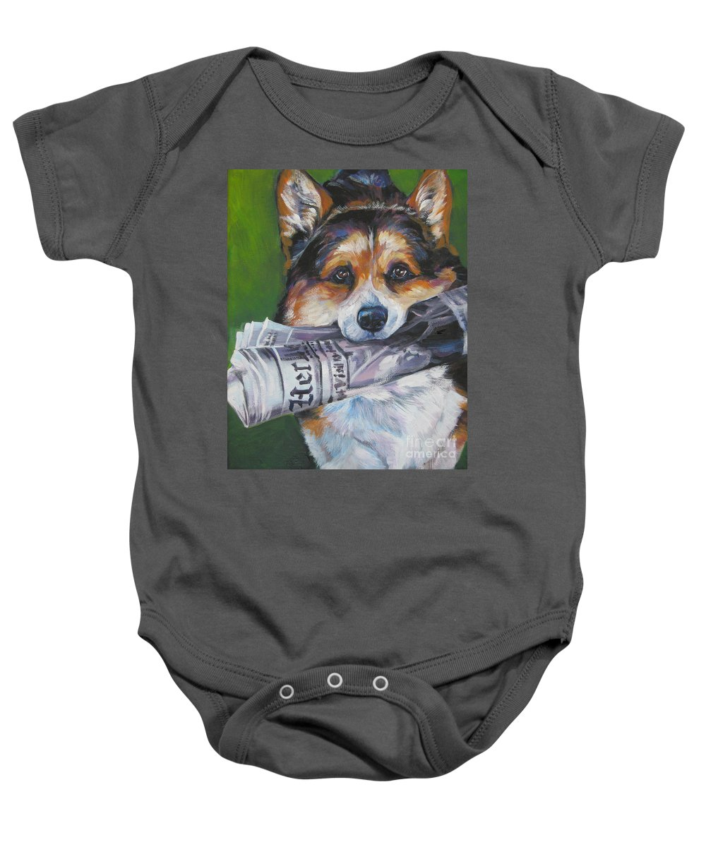 Dog Baby Onesie featuring the painting Pembroke Welsh Corgi Fetching by Lee Ann Shepard