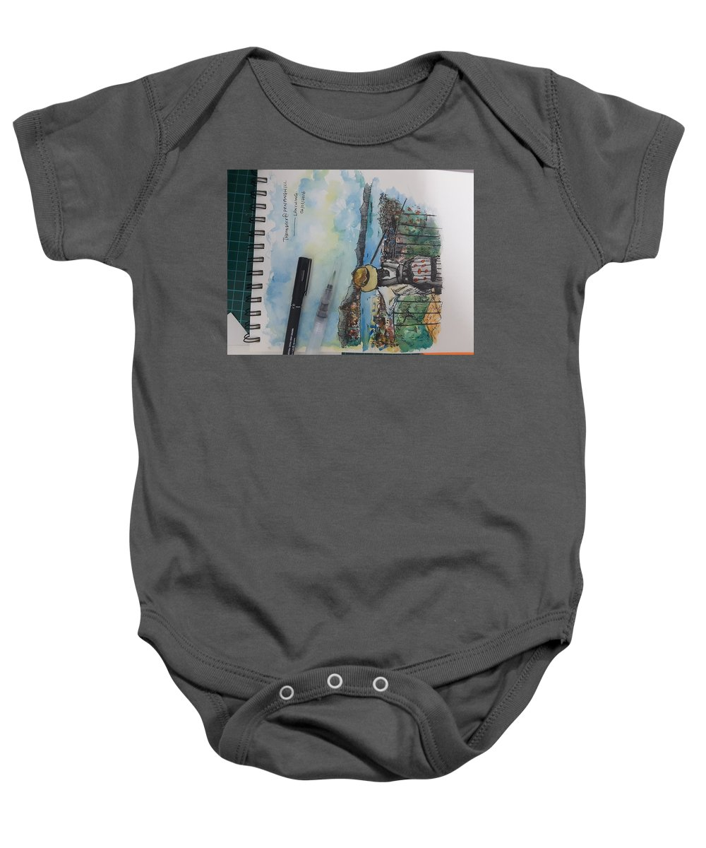 Watercolor Baby Onesie featuring the painting Penang Hills by Tan Lan Ching