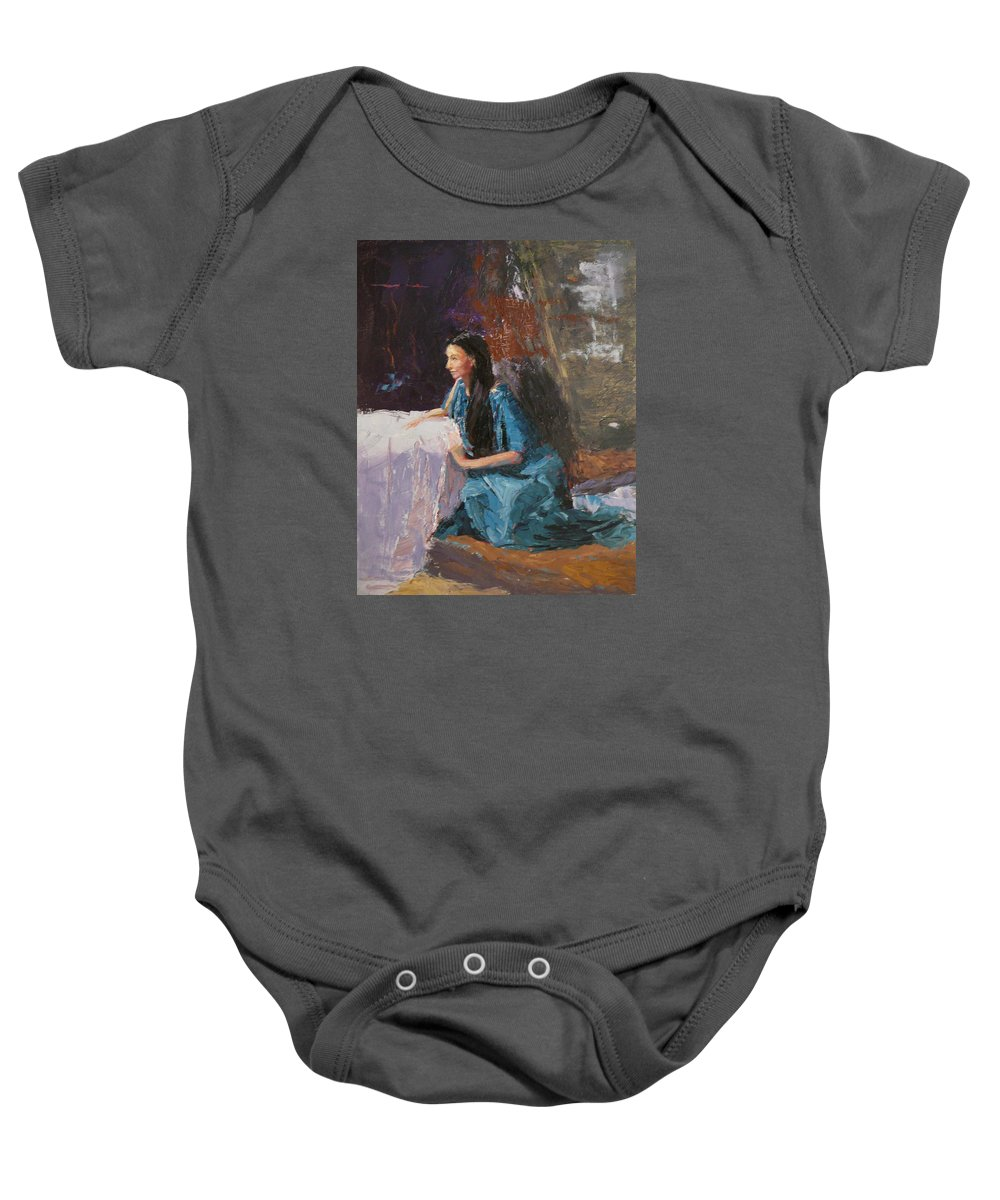 Sitting Woman Baby Onesie featuring the painting Penelope by Irena Jablonski