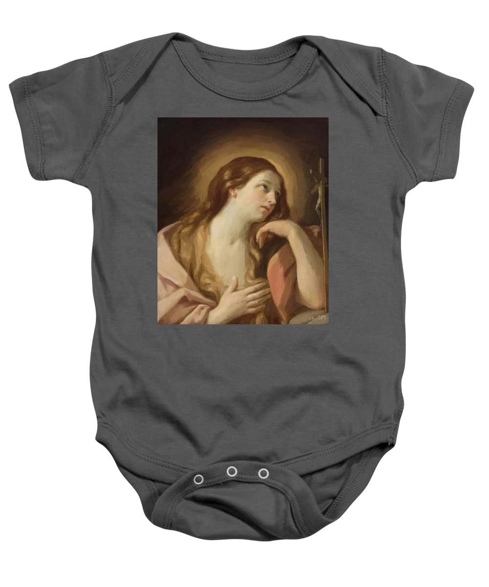 Penitent Baby Onesie featuring the painting Penitent Mary Magdalene by Reni Guido
