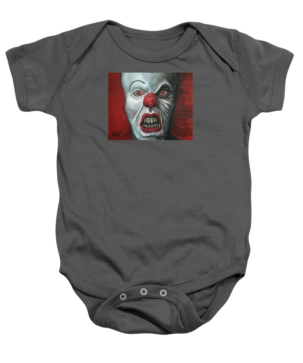 Pennywise Baby Onesie featuring the painting Pennywise by Tom Carlton
