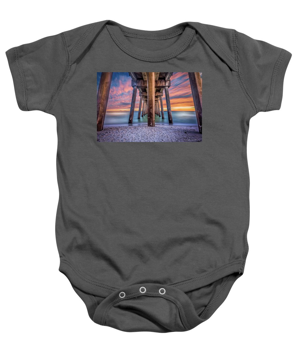 Pensacola Beach Brent Shavnore Photography Sunset Baby Onesie featuring the photograph Pensacola Beach Fireset by Brent Shavnore