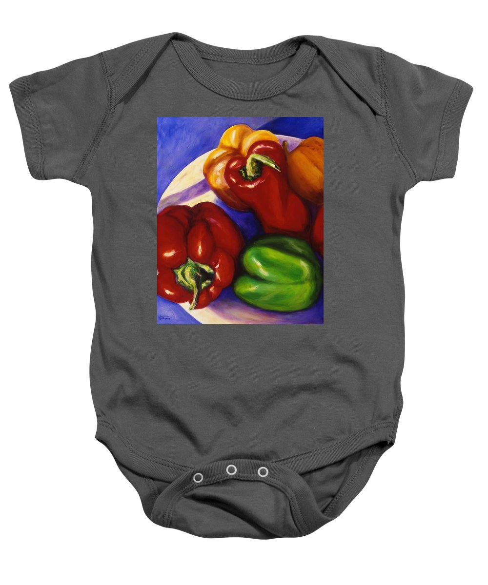 Still Life Peppers Baby Onesie featuring the painting Peppers In The Round by Shannon Grissom