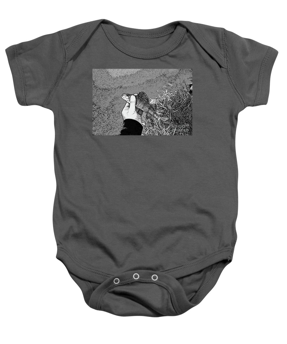 Perch Black And White Baby Onesie featuring the digital art Perch Black And White by Chris Taggart