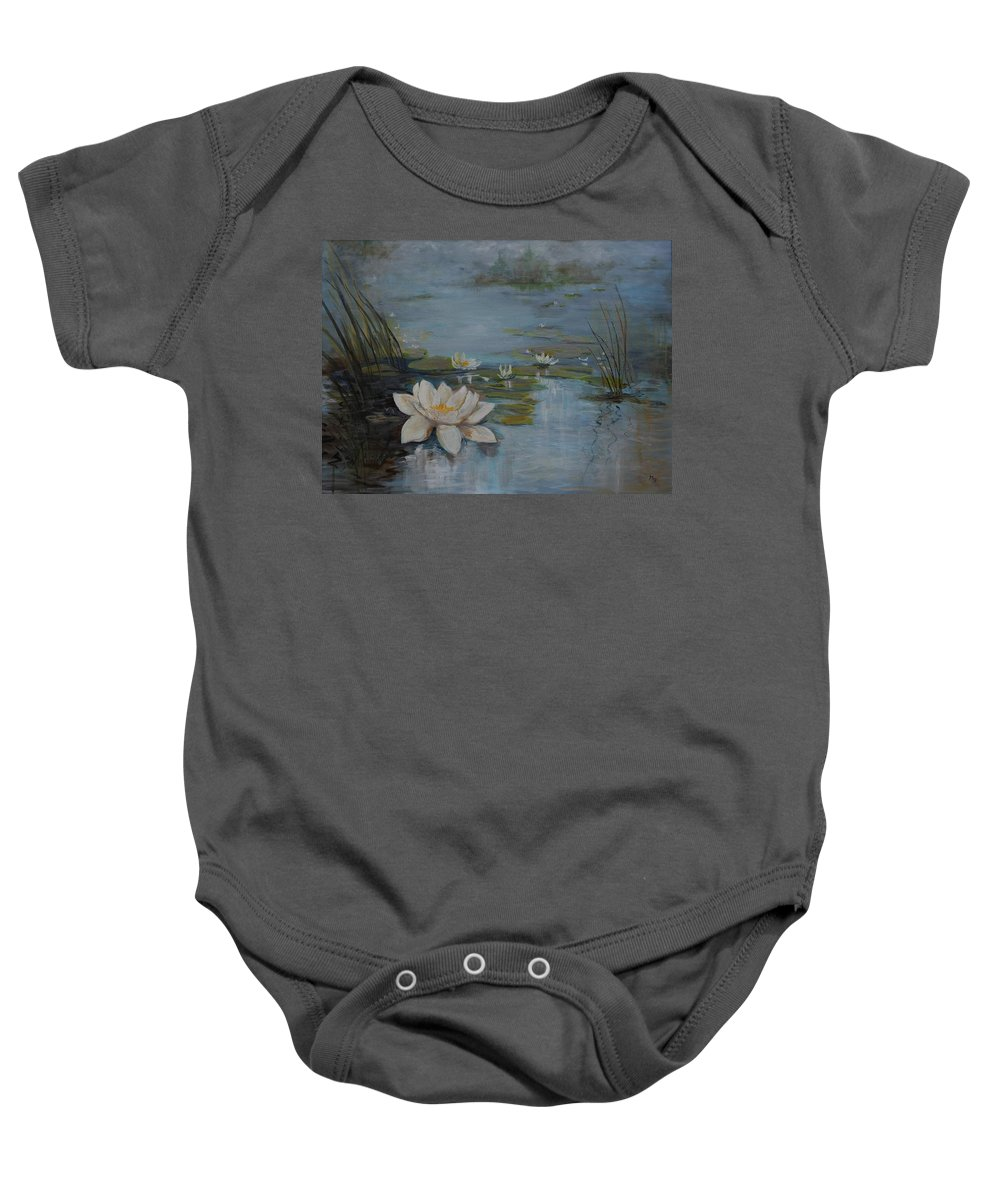 Water Lily Baby Onesie featuring the painting Perfect Lotus - Lmj by Ruth Kamenev
