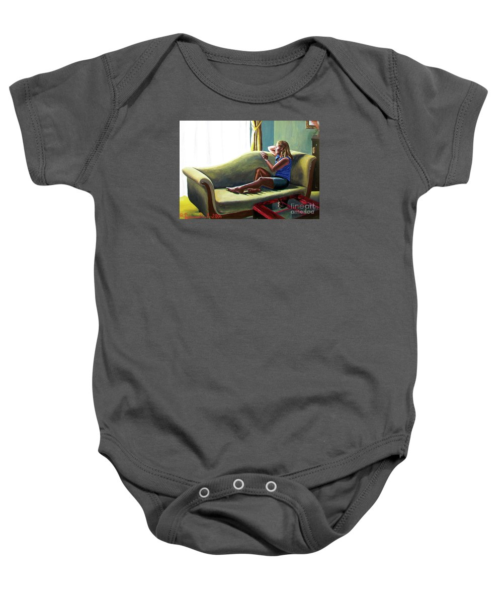 Figure Baby Onesie featuring the painting Perfect Waiting - Esperar Perfecto by Rezzan Erguvan-Onal