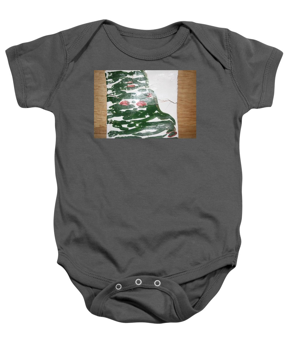 Jesus Baby Onesie featuring the ceramic art Perusal - Tile by Gloria Ssali