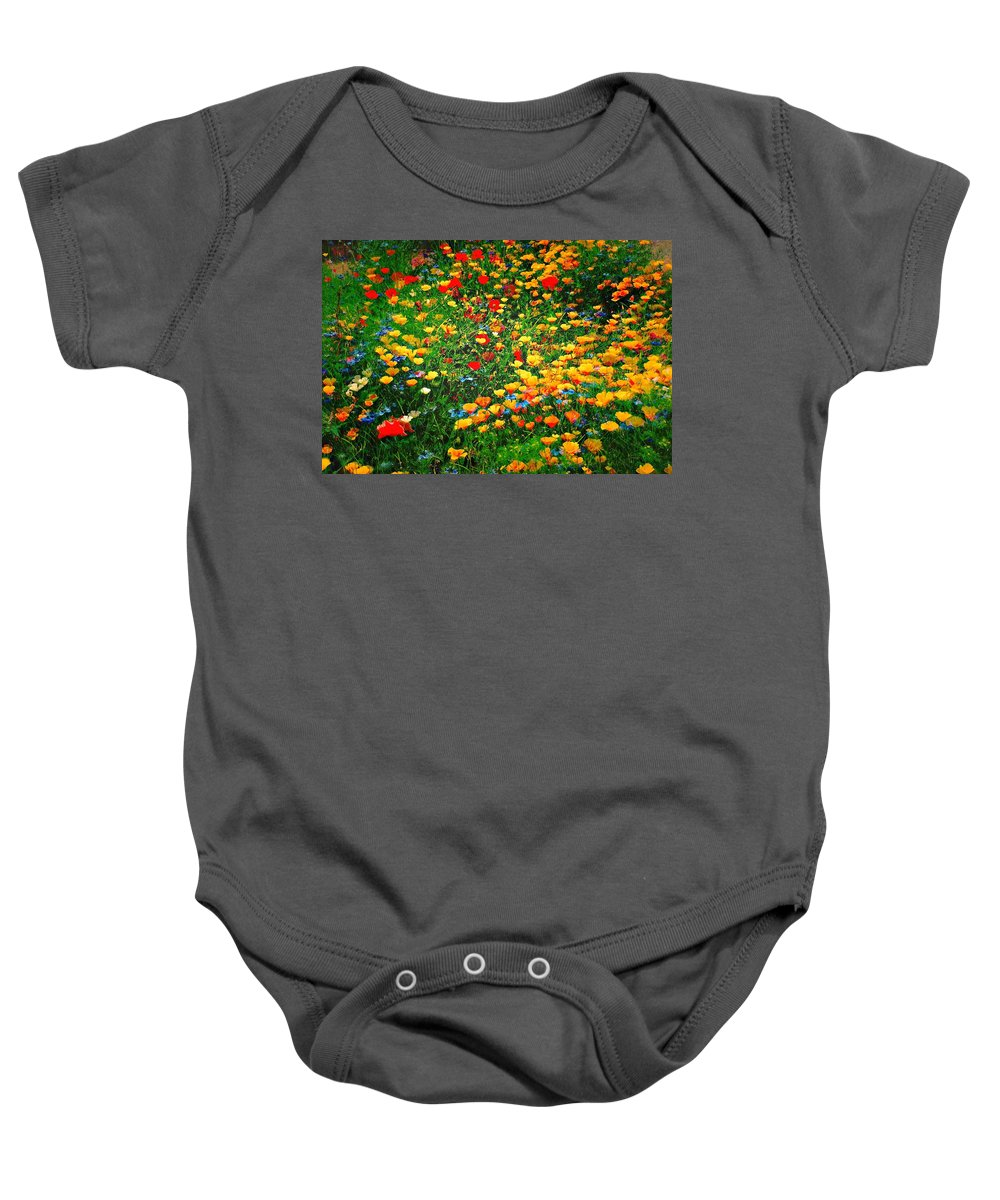 Poppies Baby Onesie featuring the photograph Poppy Petal Patch by David Coleman