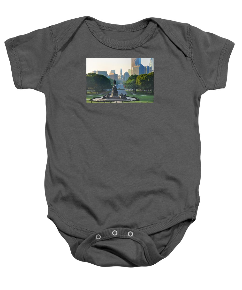 Philadelphia Baby Onesie featuring the photograph Philadelphia Benjamin Franklin Parkway by Bill Cannon