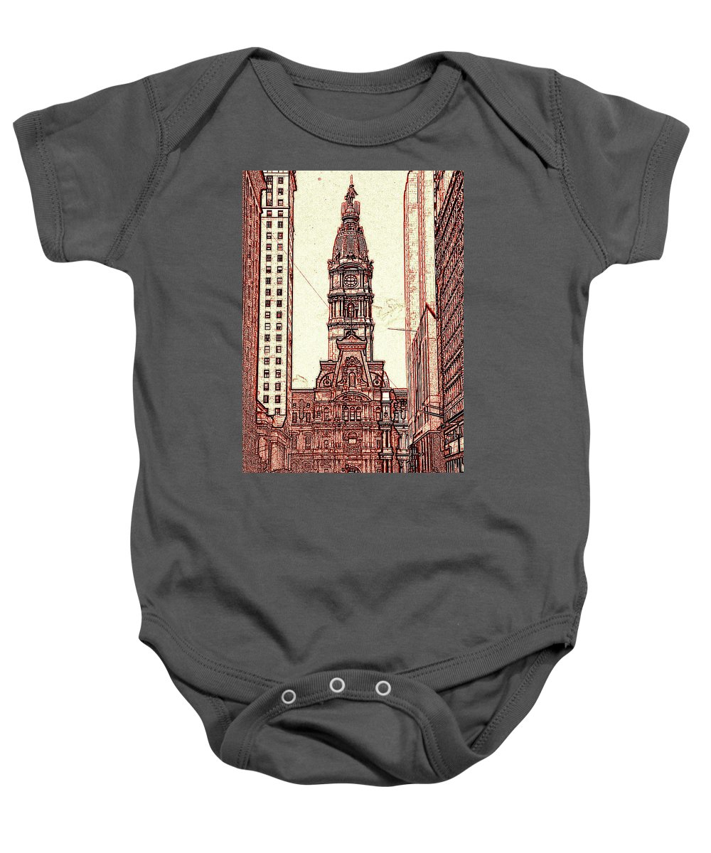 Philadelphia Baby Onesie featuring the drawing Philadelphia City Hall - Pencil by Peter Potter