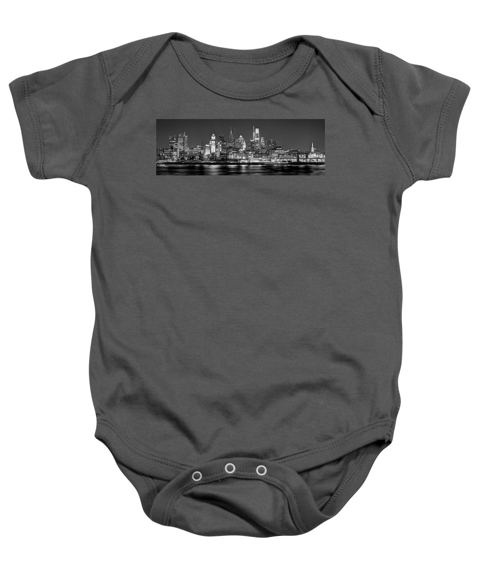 Philadelphia Skyline At Night Baby Onesie featuring the photograph Philadelphia Philly Skyline at Night from East Black and White BW by Jon Holiday