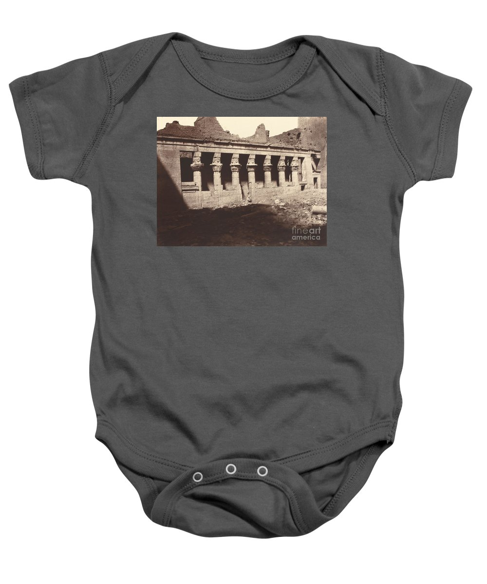 Baby Onesie featuring the photograph Philae, Cour Int?rieure, Colonnade De L'ouest by Louis De Clercq