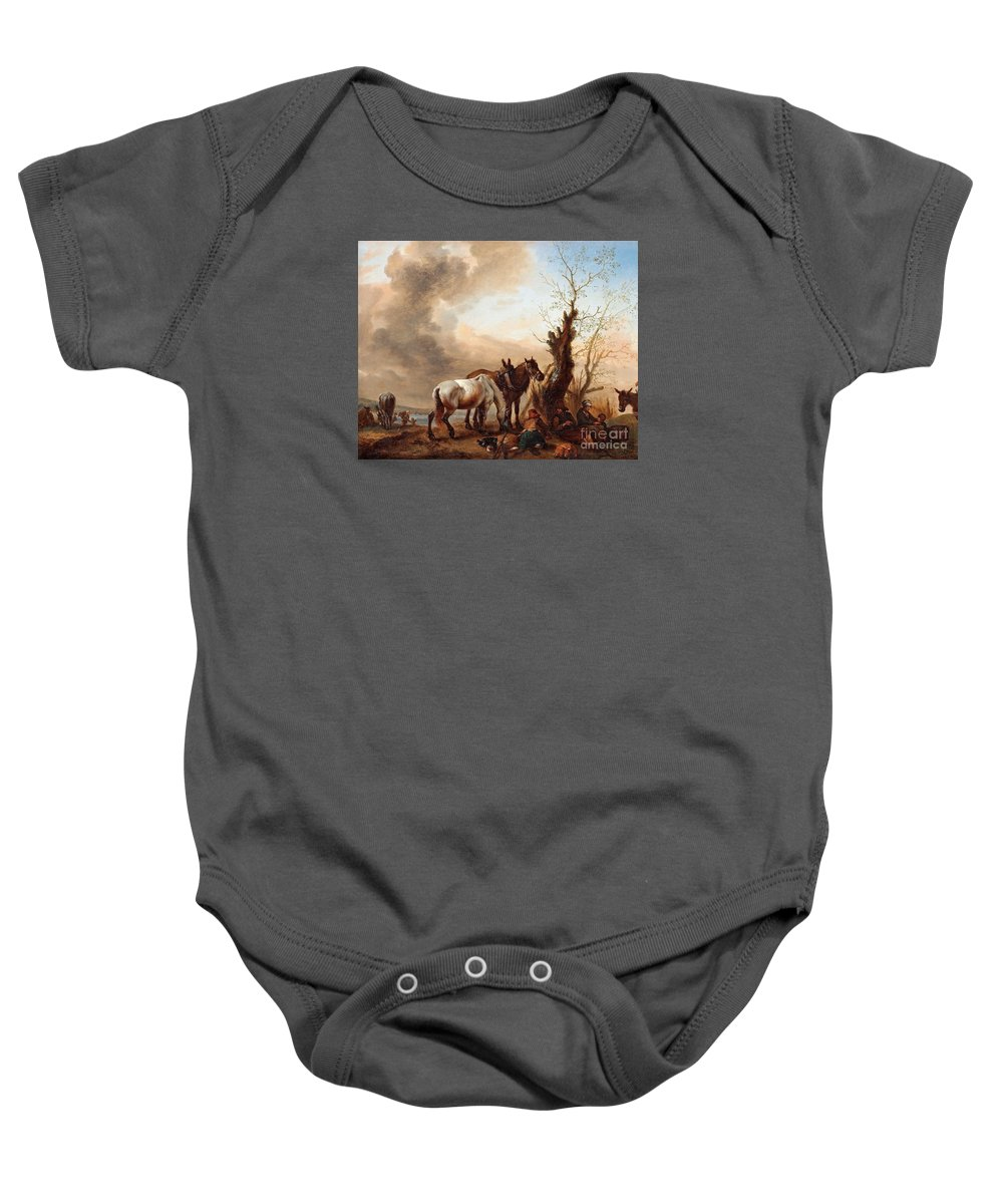Philips Wouwerman Follower Of Baby Onesie featuring the painting Philips Wouwerman by MotionAge Designs