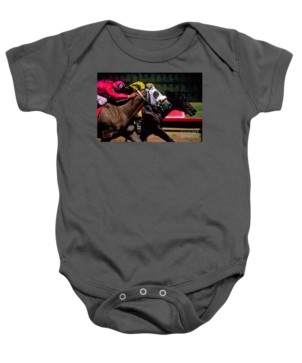 Horse Baby Onesie featuring the photograph Photo Finish by Kathy McClure