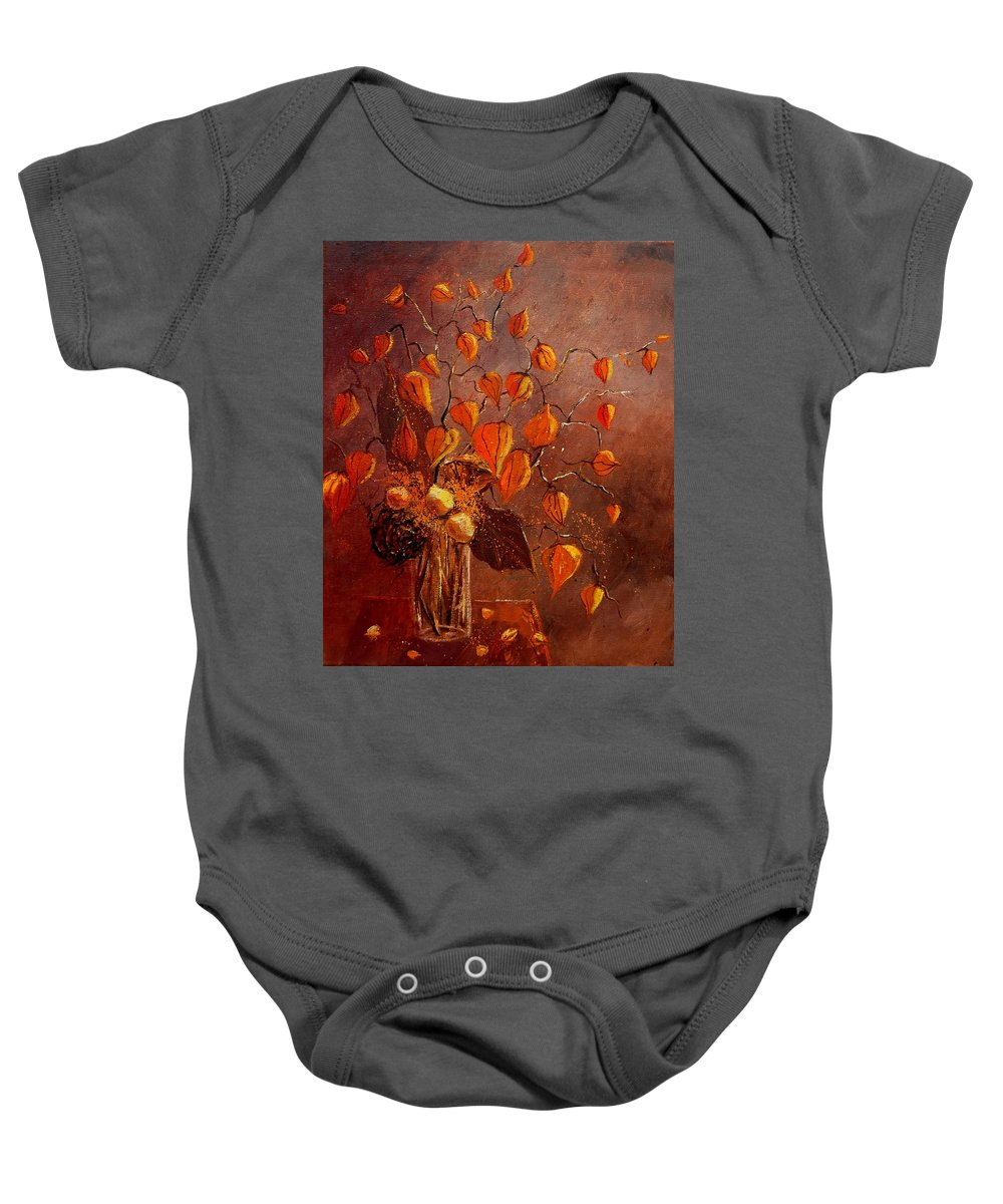 Poppies Baby Onesie featuring the painting Physialis by Pol Ledent