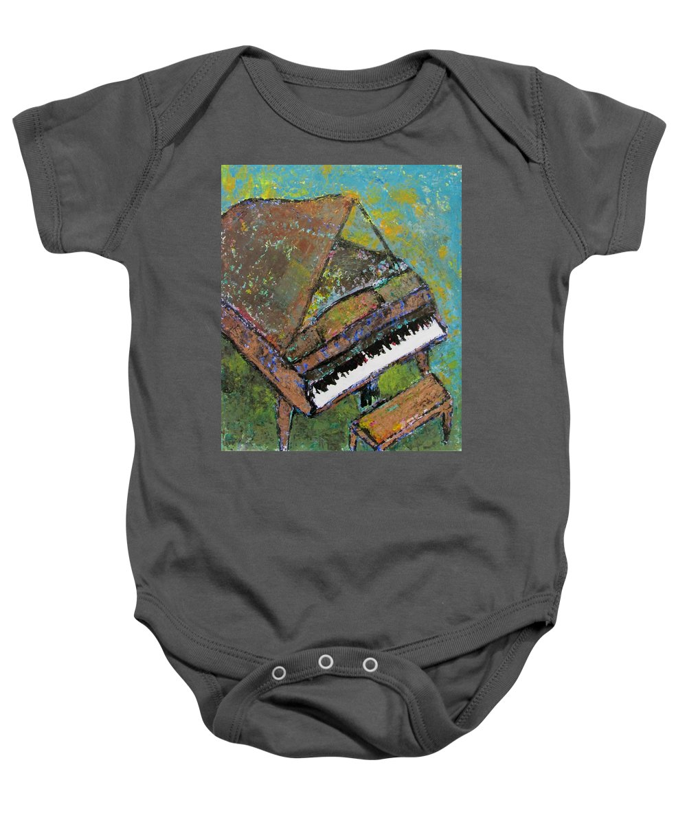 Piano Baby Onesie featuring the painting Piano Aqua Wall by Anita Burgermeister