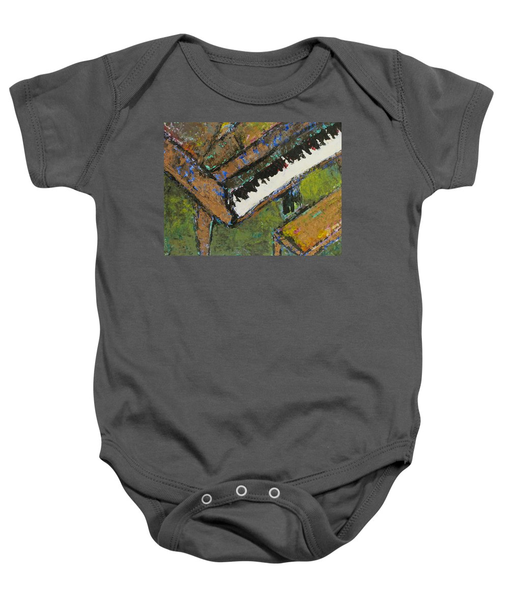 Piano Baby Onesie featuring the painting Piano Close Up 1 by Anita Burgermeister