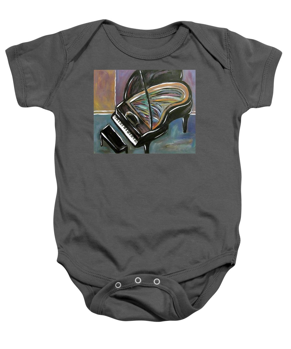 Impressionist Baby Onesie featuring the painting Piano With High Heel by Anita Burgermeister
